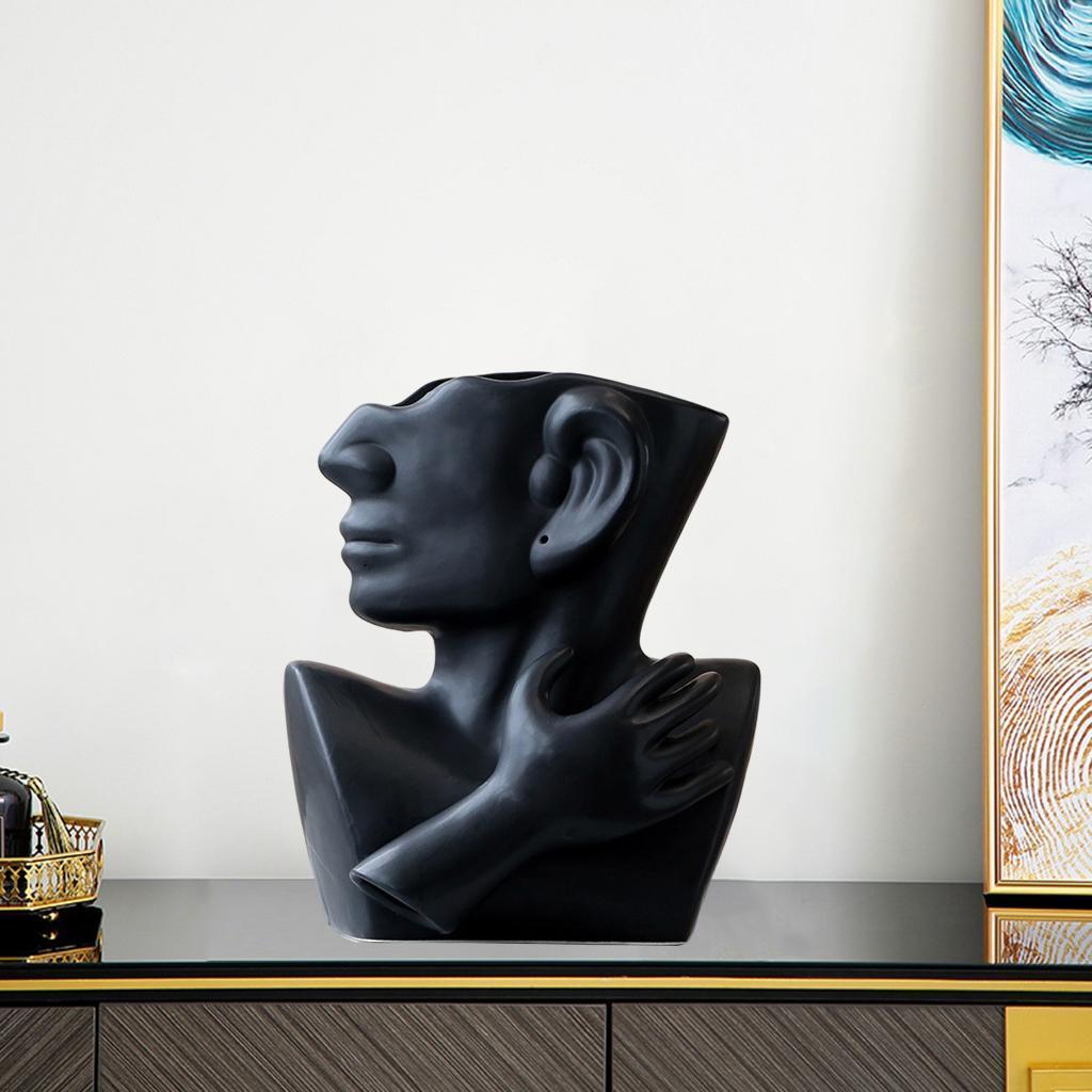 Indexbild 17 - Kreative Keramik Gesicht Vase Blumentöpfe Portrait Home Wohnzimmer