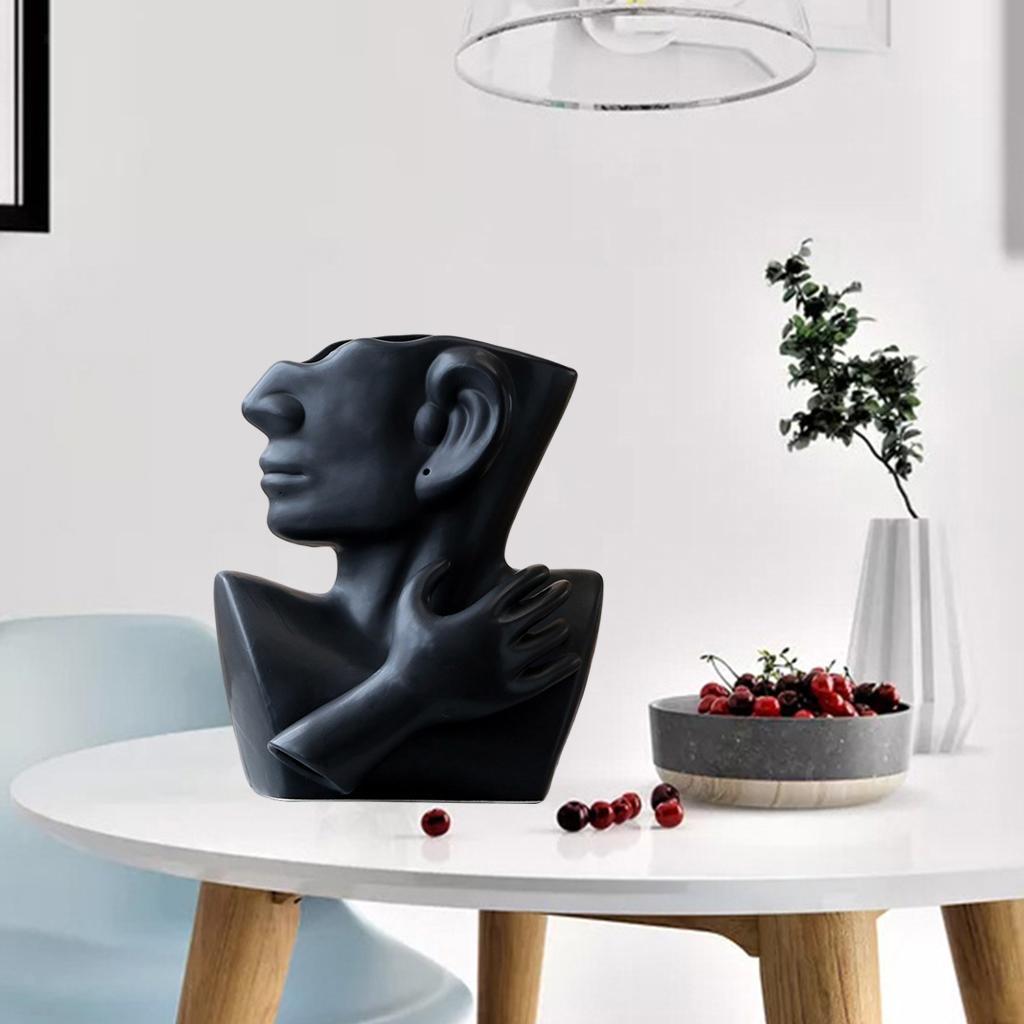 Indexbild 19 - Kreative Keramik Gesicht Vase Blumentöpfe Portrait Home Wohnzimmer
