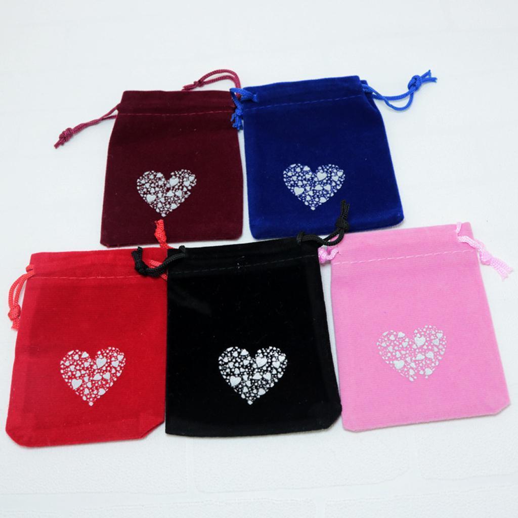 10pcs-Love-Coeur-Velours-Cordon-Sachets-Bijoux-Sacs-Pochettes-Cadeau-Mariage-Favor miniature 4