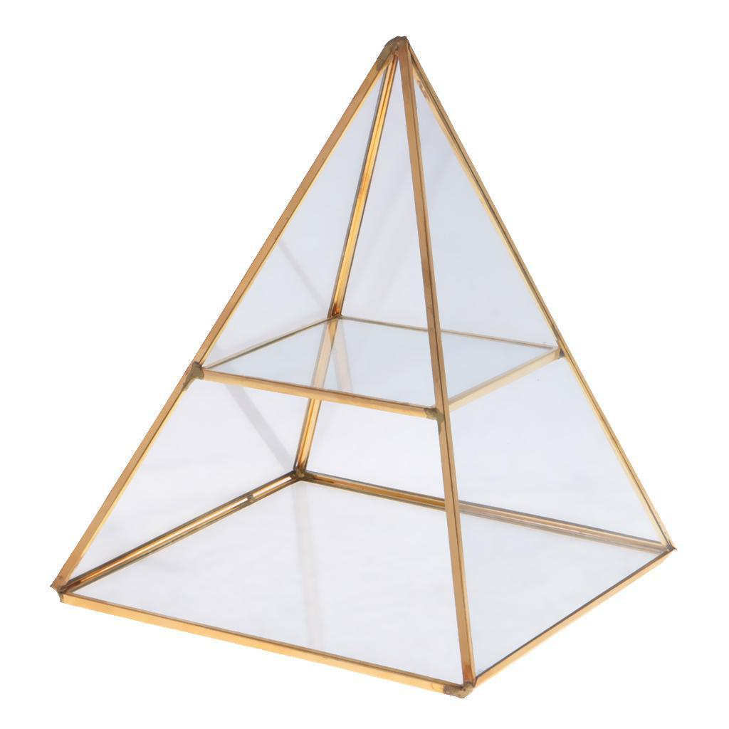 Vintage Style Brass Clear Glass Pyramid Mirrored Shadow