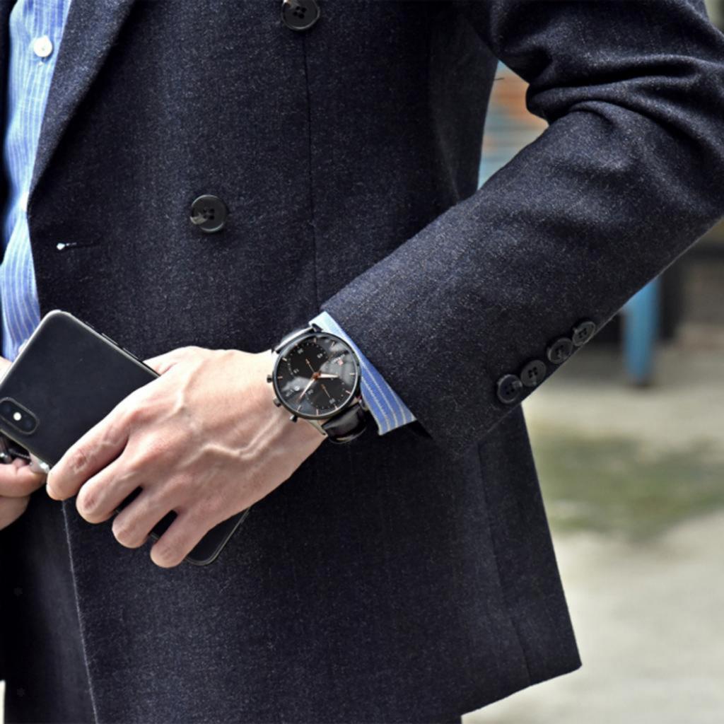 Indexbild 7 - Herrenuhr-Mode-Wasserdicht-Analog-Quarz-Uhr-mit-PU-Leder-Armband-Datum