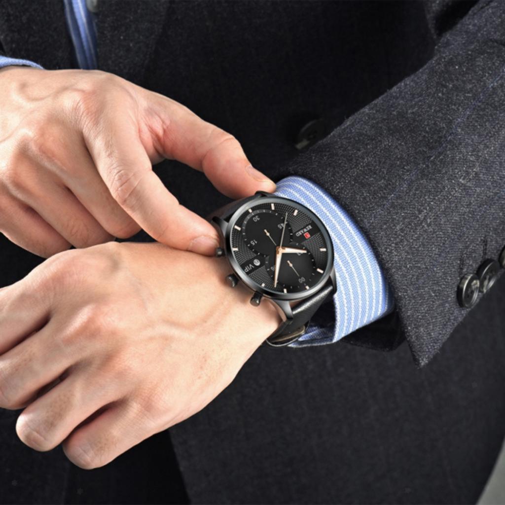 Indexbild 6 - Herrenuhr-Mode-Wasserdicht-Analog-Quarz-Uhr-mit-PU-Leder-Armband-Datum