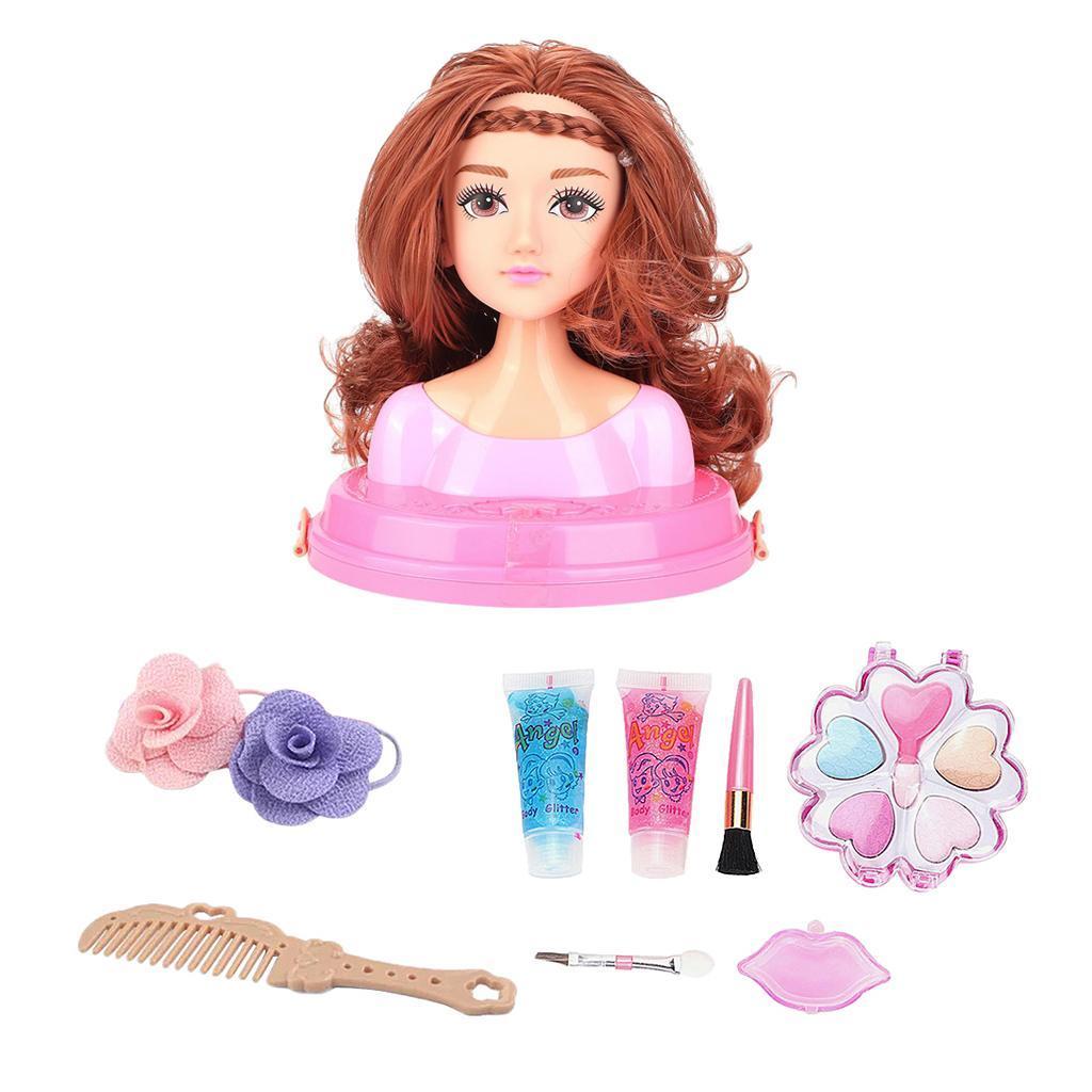 Muneca-para-Maquillar-y-Peinar-Juego-de-Estilo-de-Cabeza-de-Munecas-para miniatura 9