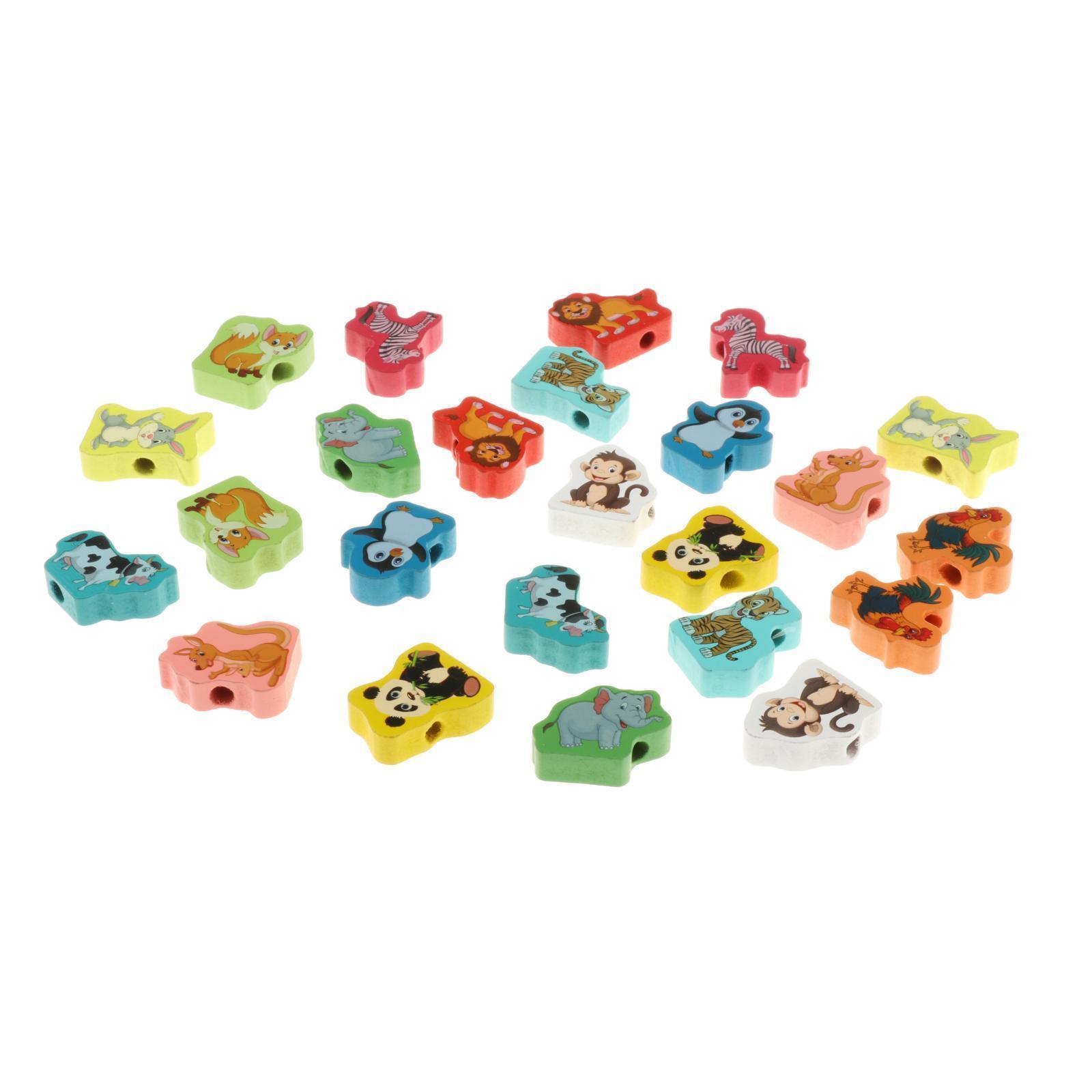 miniatura 20 - 24 pezzi di Legno FAI DA TE Perline Stringa Monterssori Le Capacità Motorie