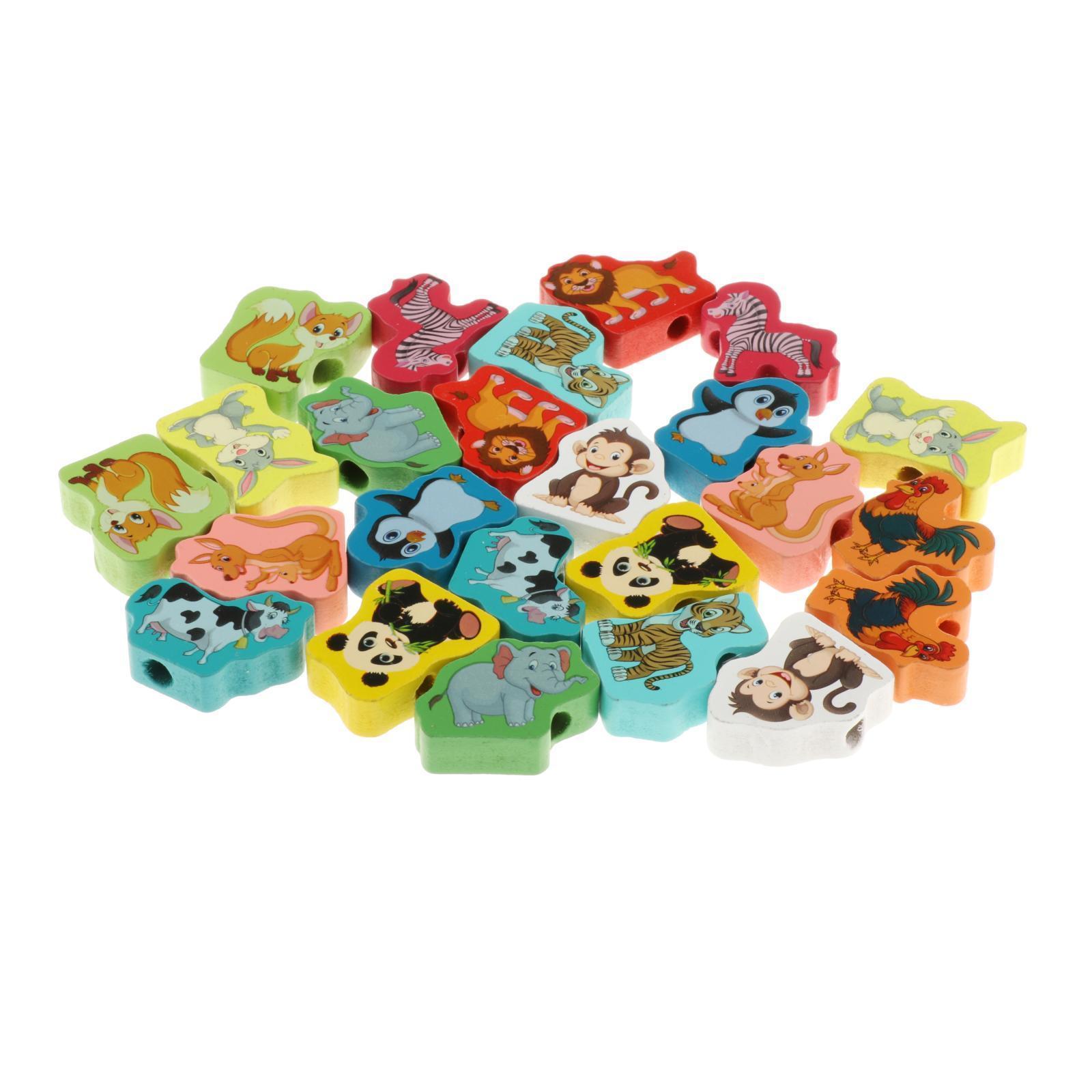 miniatura 23 - 24 pezzi di Legno FAI DA TE Perline Stringa Monterssori Le Capacità Motorie