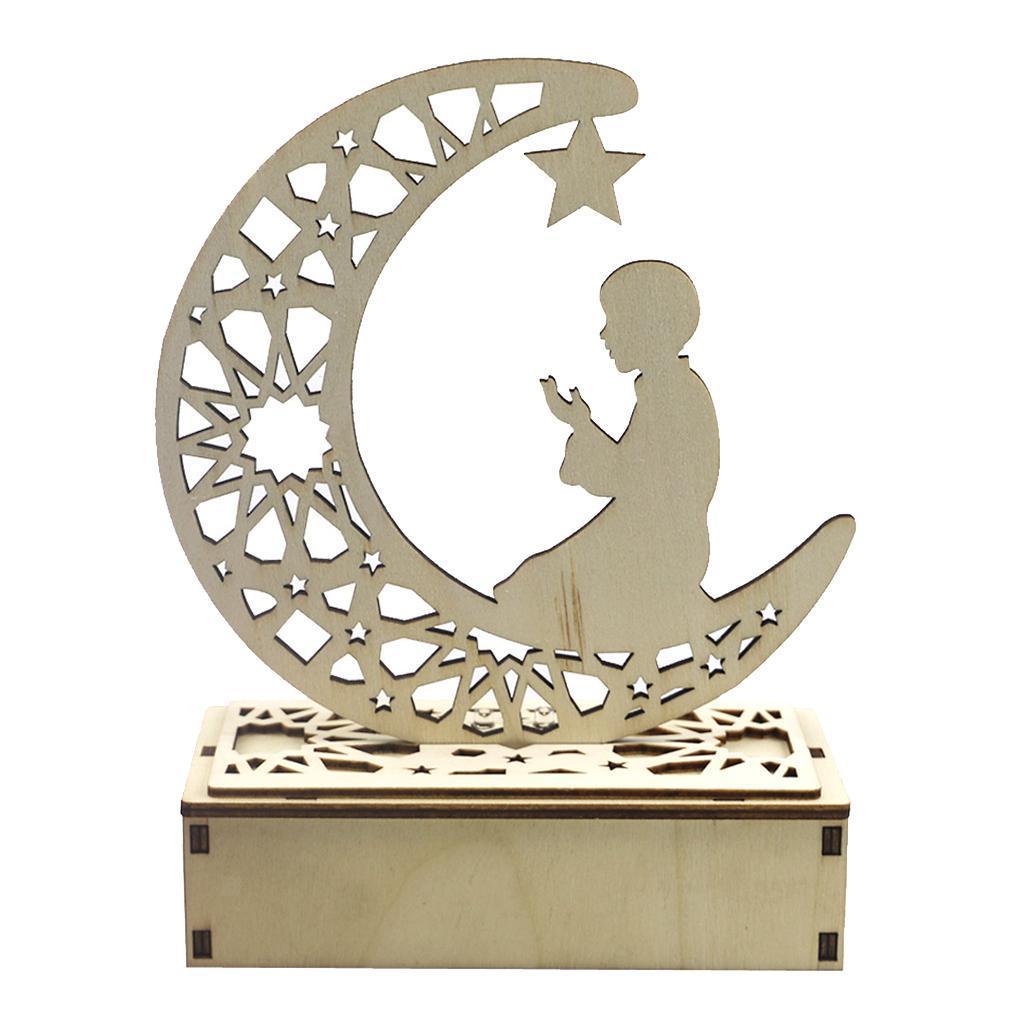 Decorations-En-Bois-Eid-Mubarak-Decorations-Fournitures-De-Fete-Musulmane miniature 6