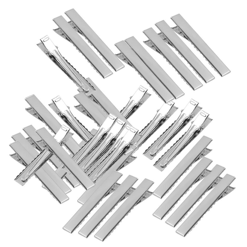50pcs Flat Square Metal Duckbill Hair Clips Metal Alligator Teeth Clips 40mm