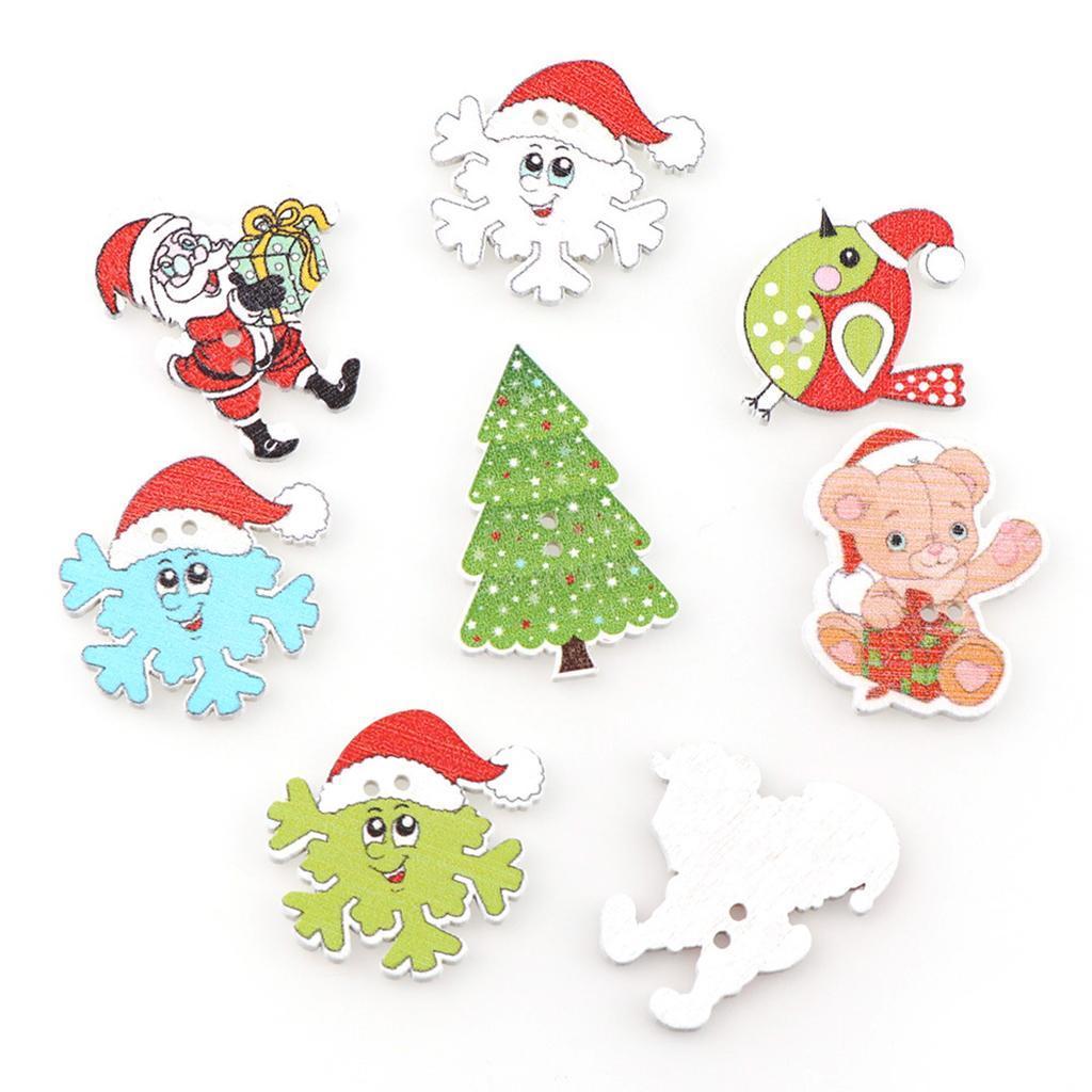 50x-Holzknoepfe-Naehen-Holzknopf-Weihnachten-Kinderknoepfe-Basteln-Dekoknoepfe Indexbild 3