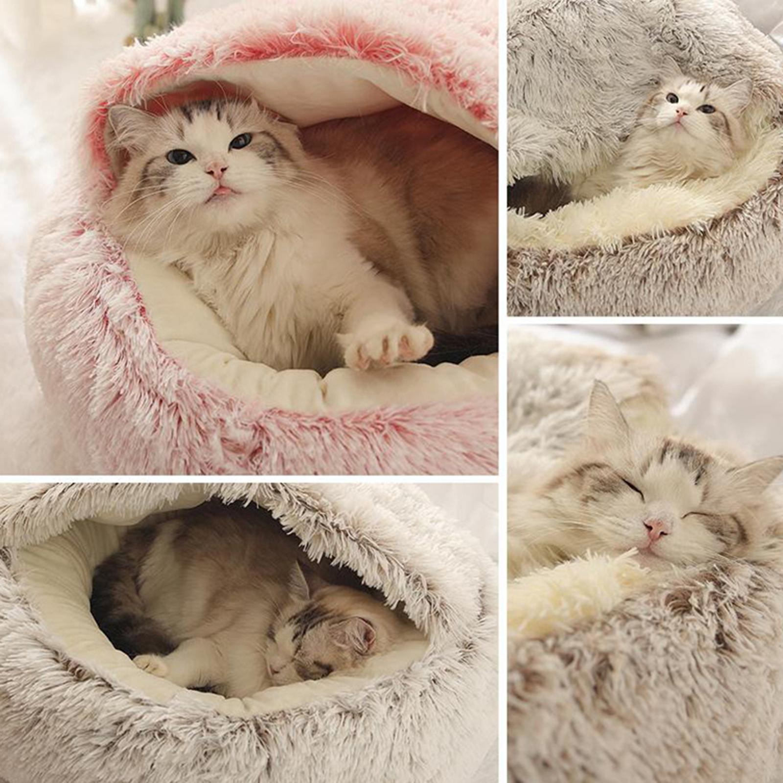 thumbnail 34 - Plush Pet Dog Cat Bed Fluffy Soft Warm Calming Bed Sleeping Kennel Cave Nest