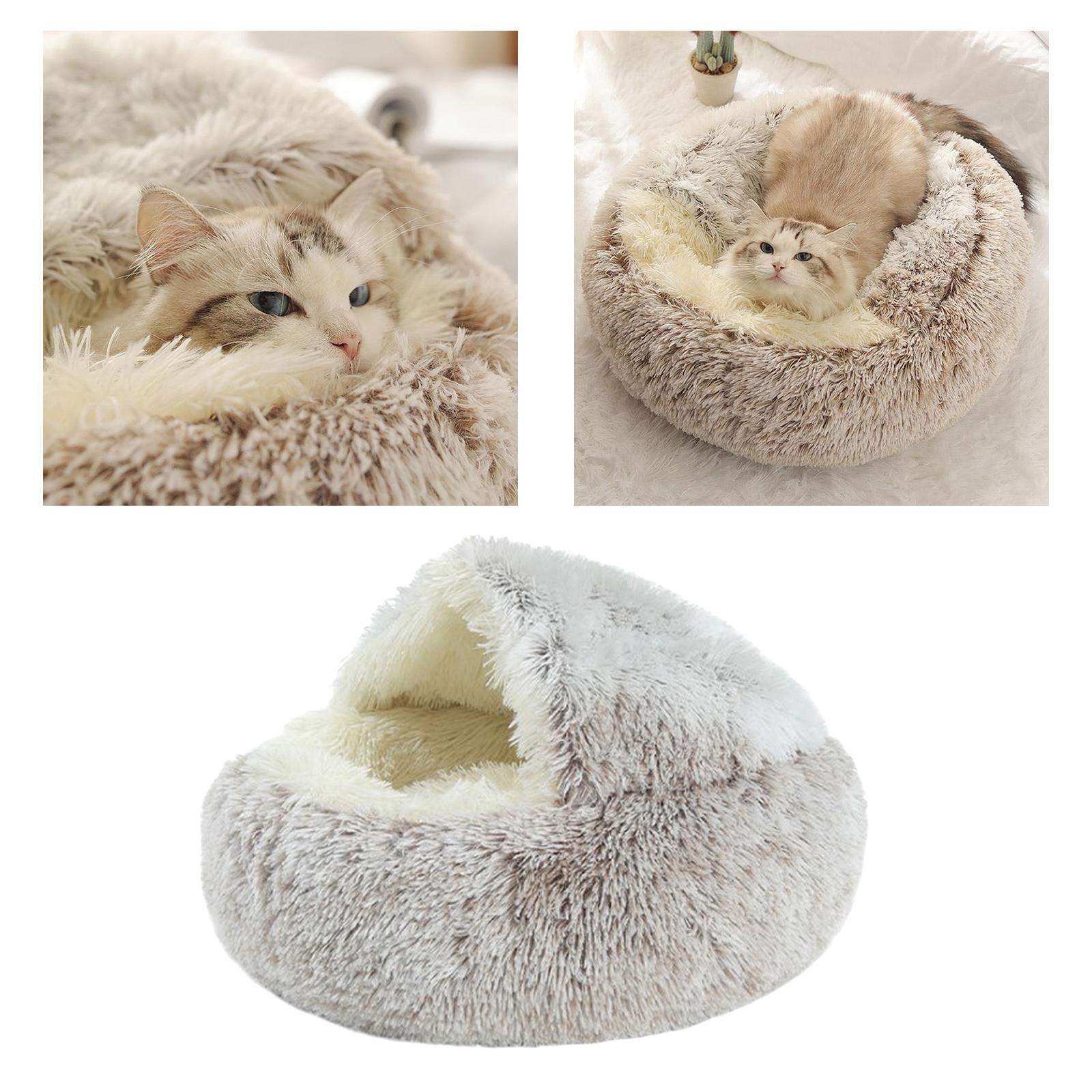 miniature 30 - Pet Chien Chat Calmant Lit Rond Nid Chaud En Peluche Confortable de Couchage