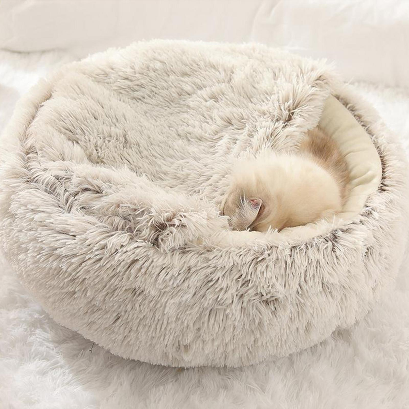 thumbnail 37 - Plush Pet Dog Cat Bed Fluffy Soft Warm Calming Bed Sleeping Kennel Cave Nest