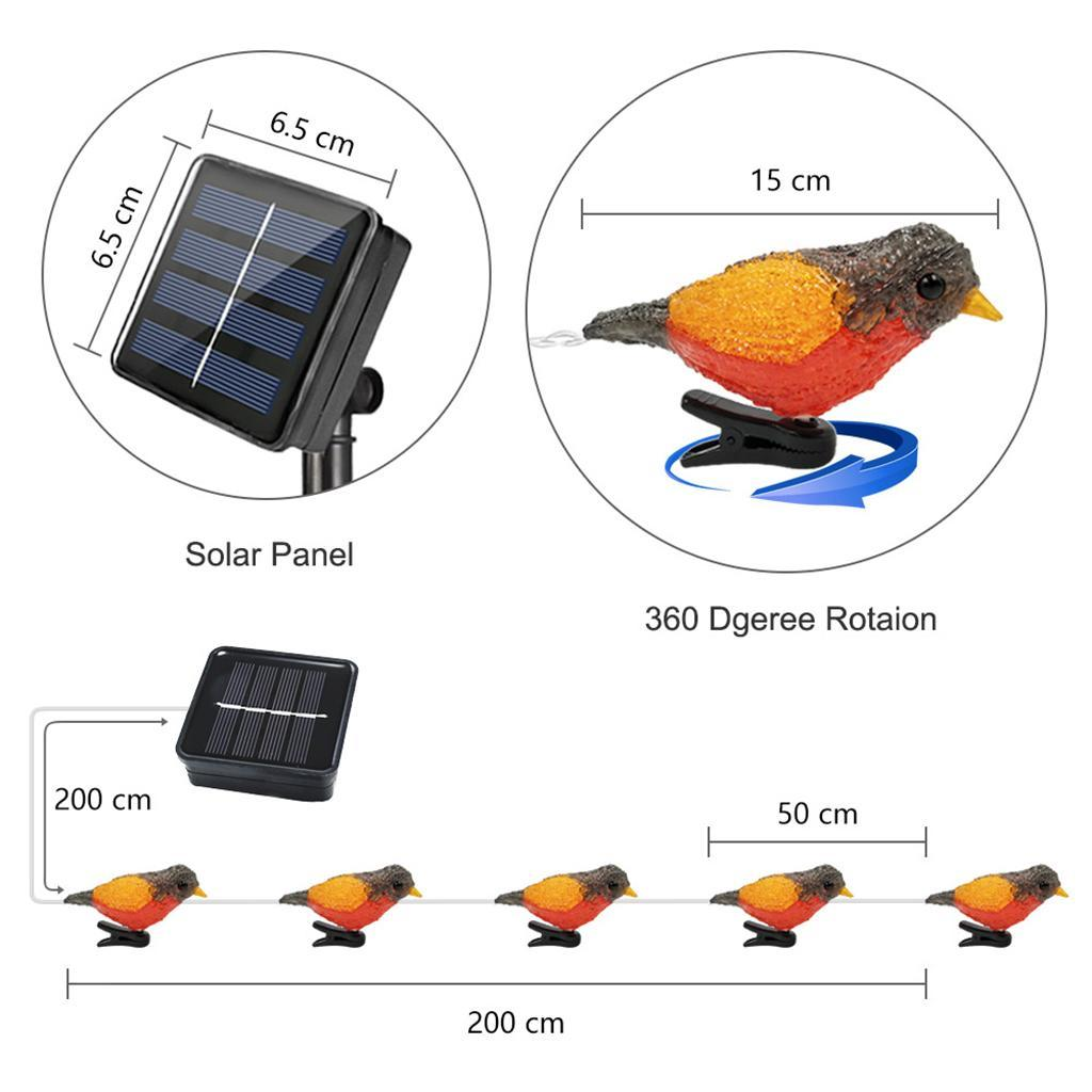 miniature 8 - 5 solaire Oiseaux Jeu de Lumières avec Clip Jardin Paysage De Noël Décor