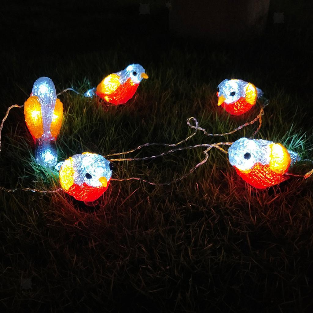 miniature 6 - 5 solaire Oiseaux Jeu de Lumières avec Clip Jardin Paysage De Noël Décor