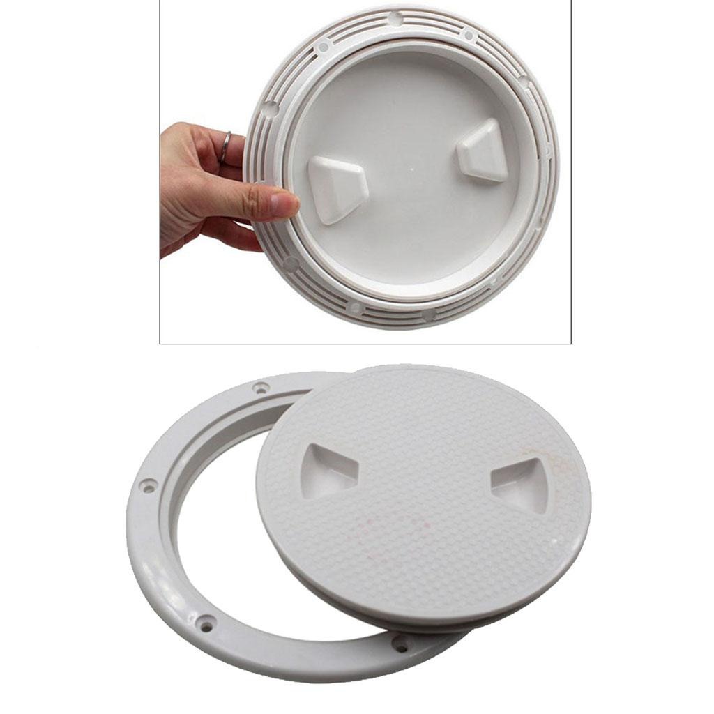 2x ABS Boating 6 inch Deck Inspection Hatch Screw Out Plate Non Slip White