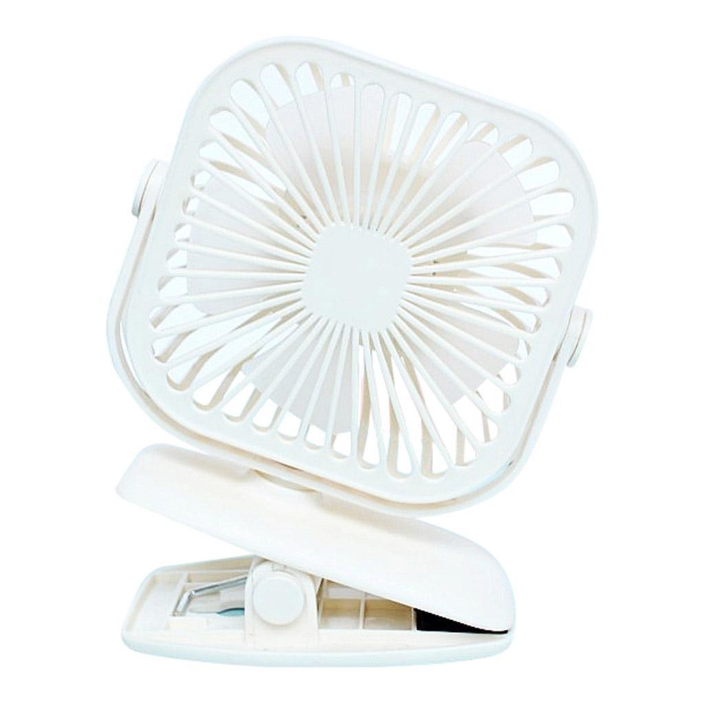 USB-Mini-Fan-Clip-Rechargeable-Ventilateur-De-Bureau-2-Vitesse-600mAh-Batterie miniature 3