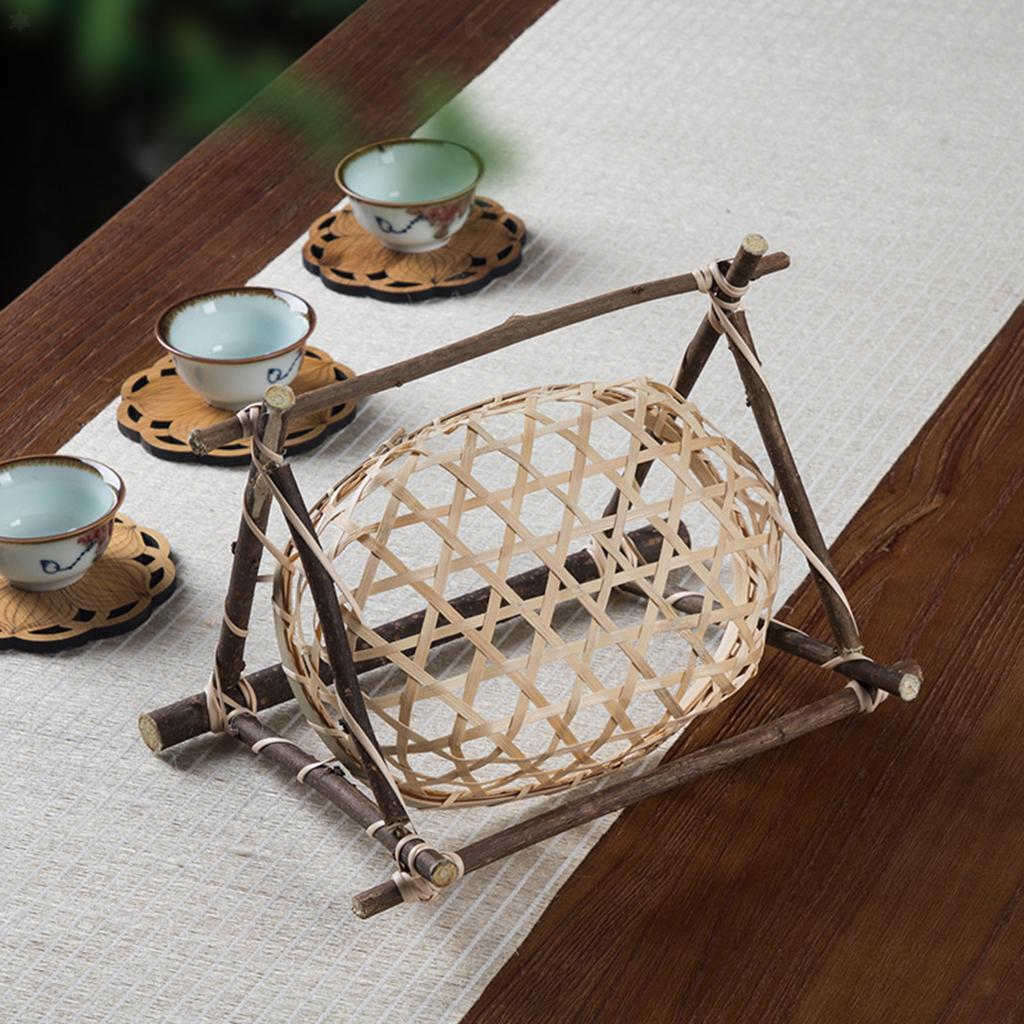 miniatura 6 - Vimini Pane di Frutta Dado Snack Buffet Cesto Di Bambù Tessuto Del Display