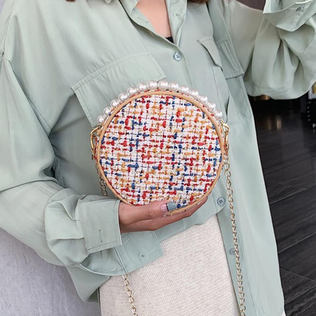 Damen-Runde-Umhaengetasche-kleine-Schultertasche-Handtasche-Crossbody-Herbst Indexbild 4