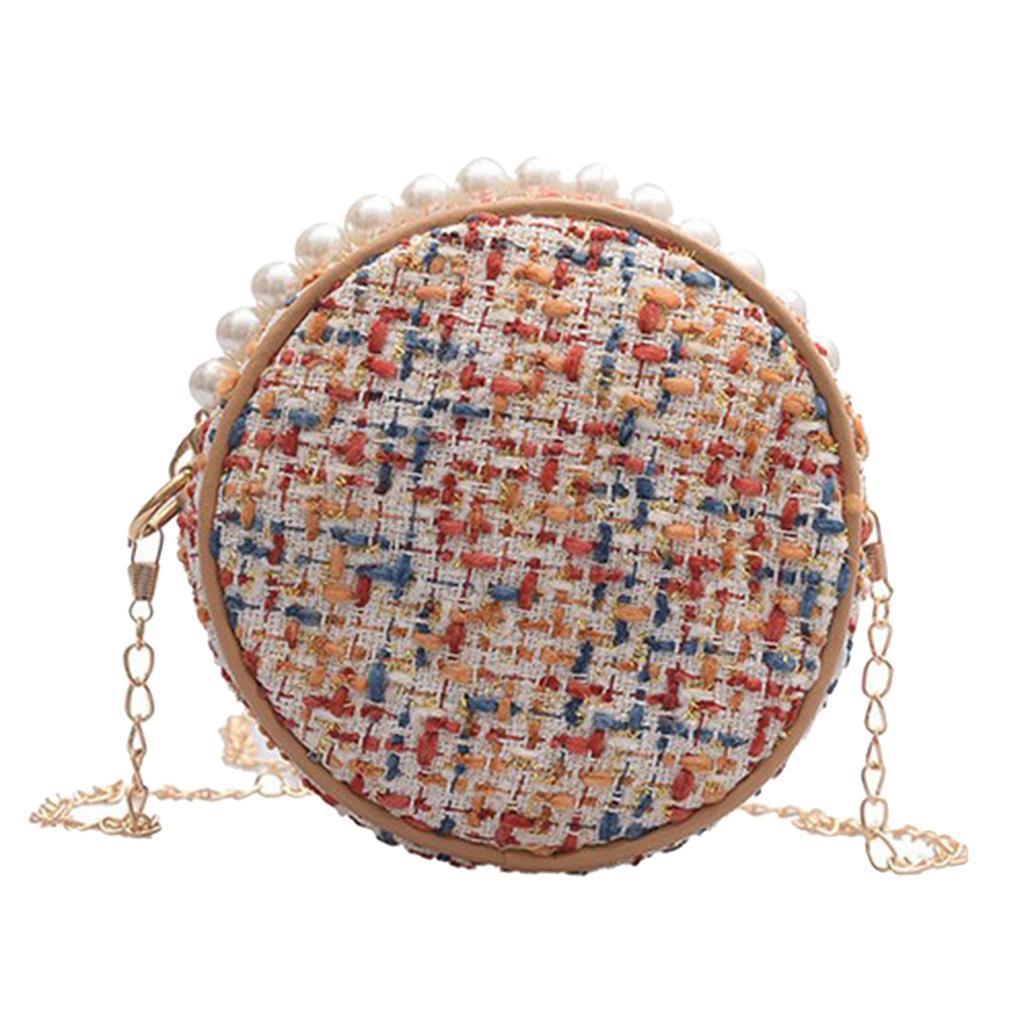Damen-Runde-Umhaengetasche-kleine-Schultertasche-Handtasche-Crossbody-Herbst Indexbild 3