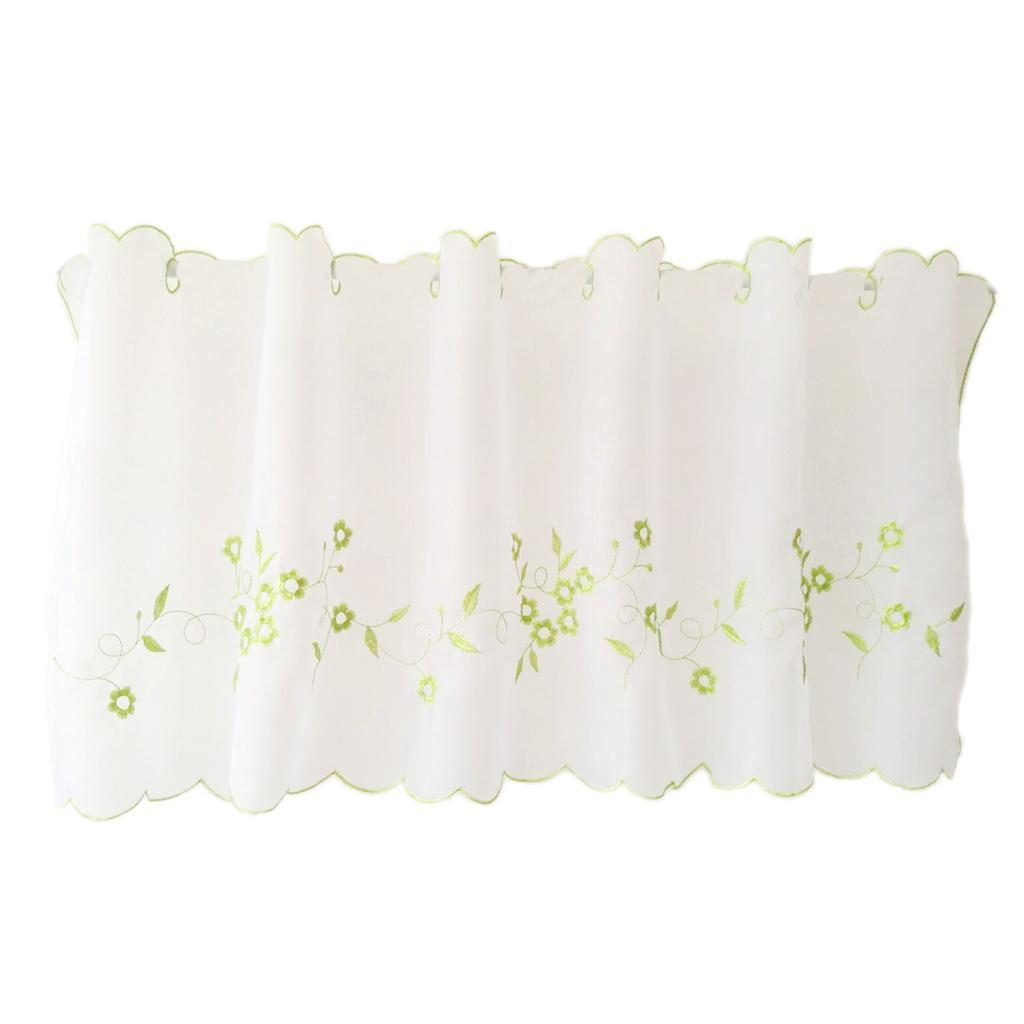 Embroidered Lace Half Valance Eyelet Tier Curtains Kitchen Window Treatment