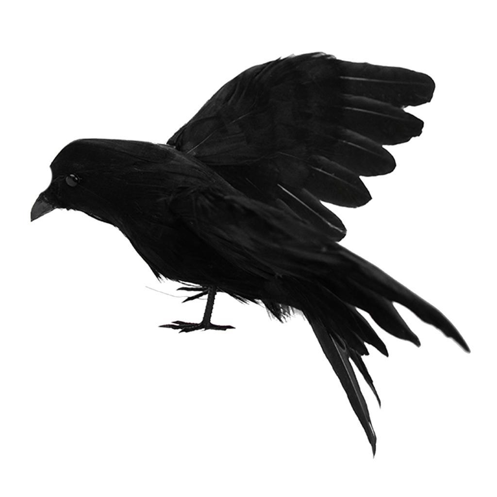 Simulation-Black-Crow-Realistic-Feather-Crow-Artificial-Bird-Raven-Prop-Art-and thumbnail 13