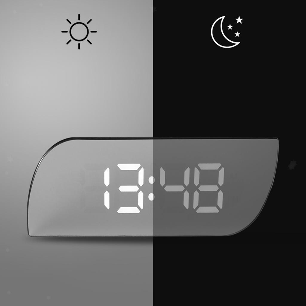 thumbnail 13 - Desk Digital Time Calendar Snooze Alarm Clock LED Large Mirror Temperature