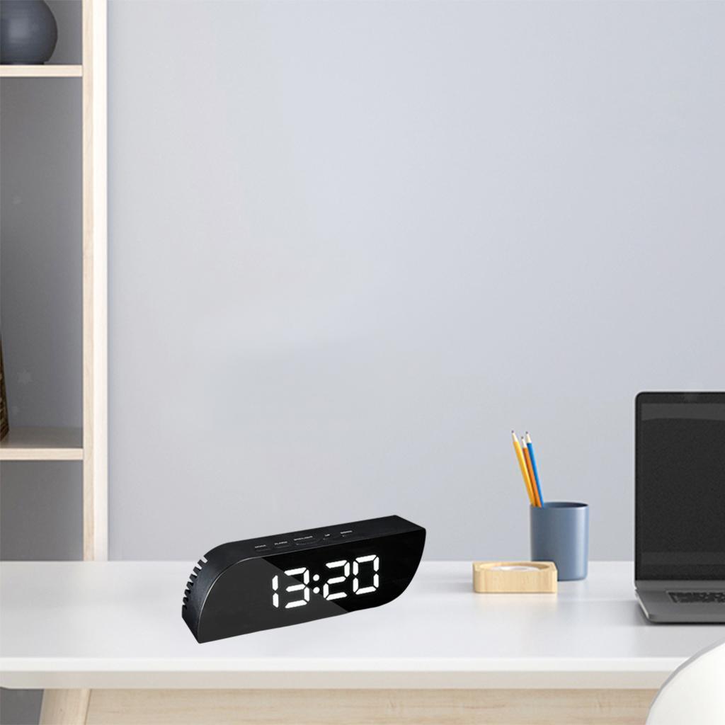 thumbnail 10 - Desk Digital Time Calendar Snooze Alarm Clock LED Large Mirror Temperature