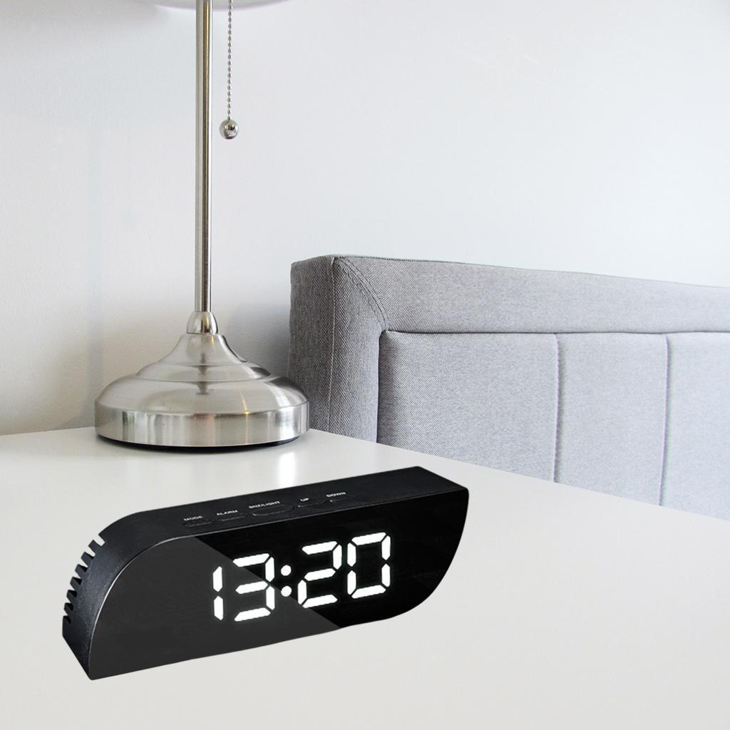 thumbnail 5 - Desk Digital Time Calendar Snooze Alarm Clock LED Large Mirror Temperature