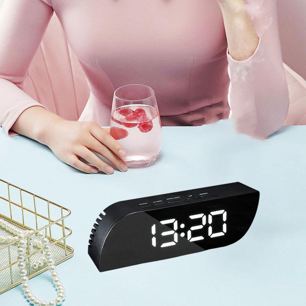 thumbnail 4 - Desk Digital Time Calendar Snooze Alarm Clock LED Large Mirror Temperature