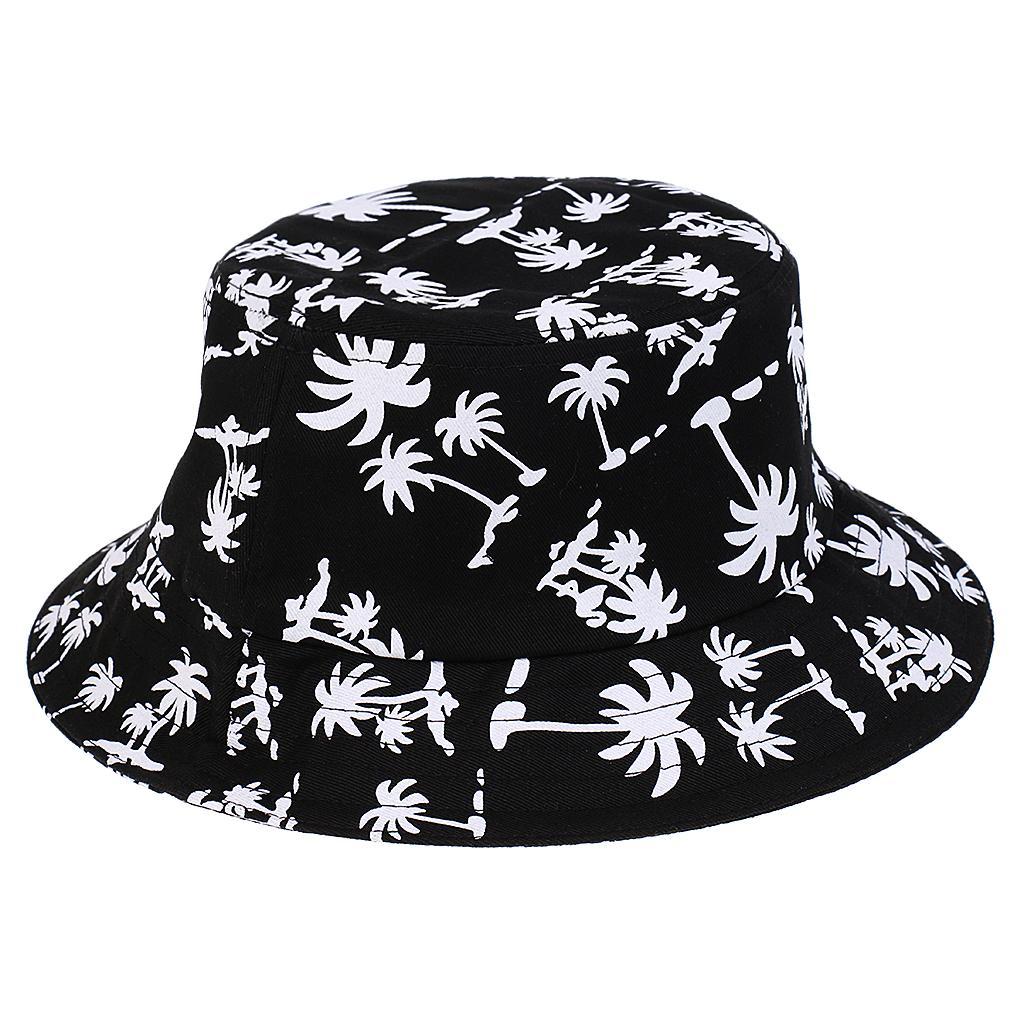 100% Baumwolle verpackt Sommer Sonnenhut Reise Eimer Hut breiten Rand schwarz