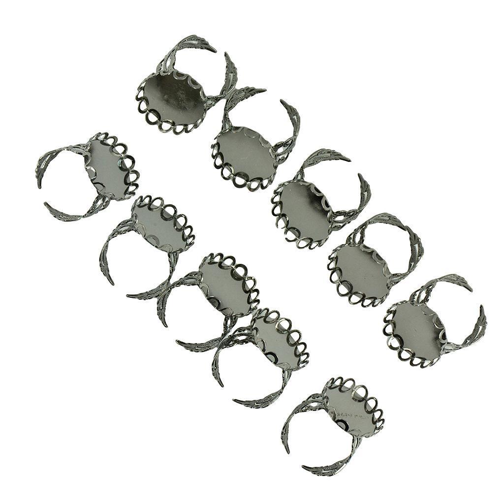 miniatura 6 - 10pcs Ovale regolabile Portabili Lunetta Impostazione Anello Anelli Fai da Te