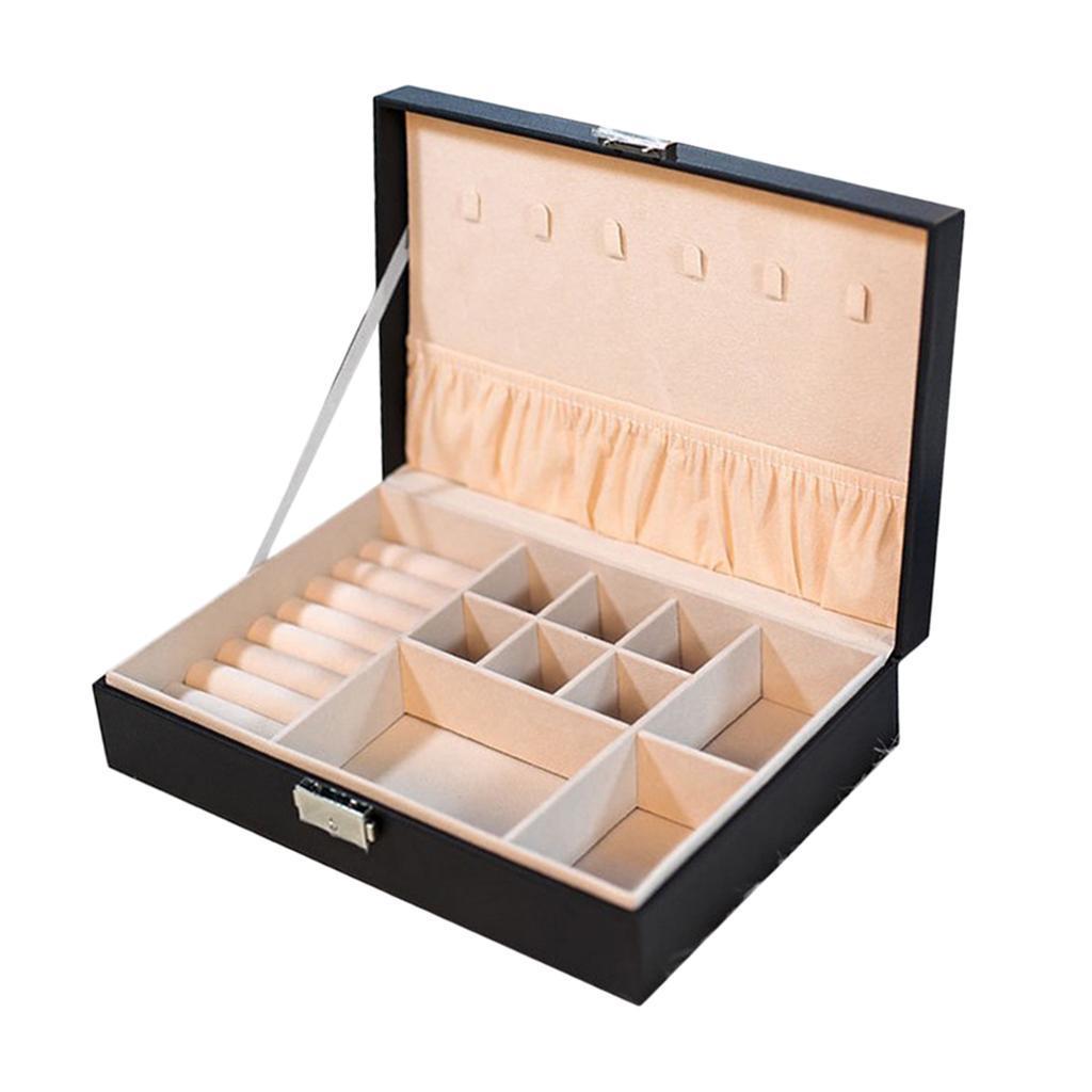 Boite-a-Bijoux-Boite-De-Bague-Multi-usages-Boucles-D-039-oreilles-Collier-Bijoux miniature 9