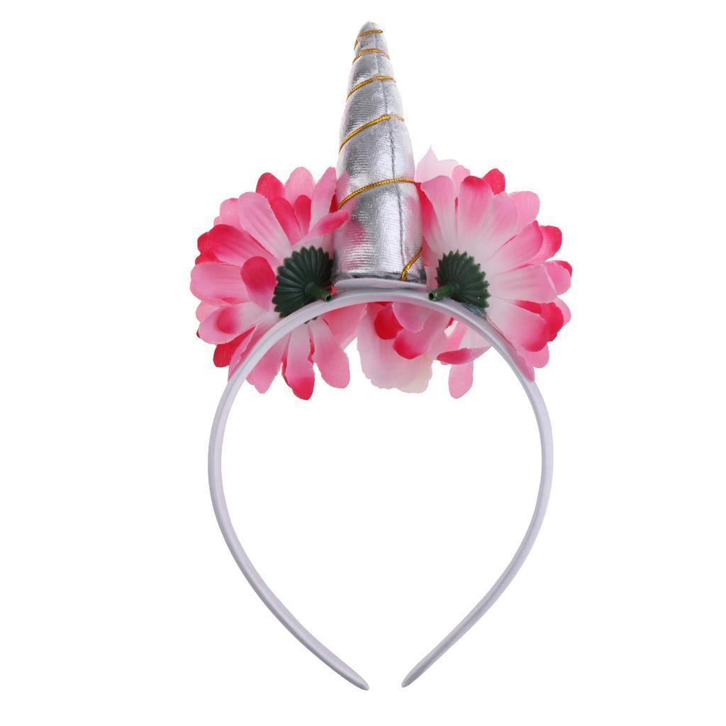 Girls-Pony-Unicorn-Horn-Ear-Flower-Veil-Headband-Fancy-Dress-Cosplay-Hairband thumbnail 3
