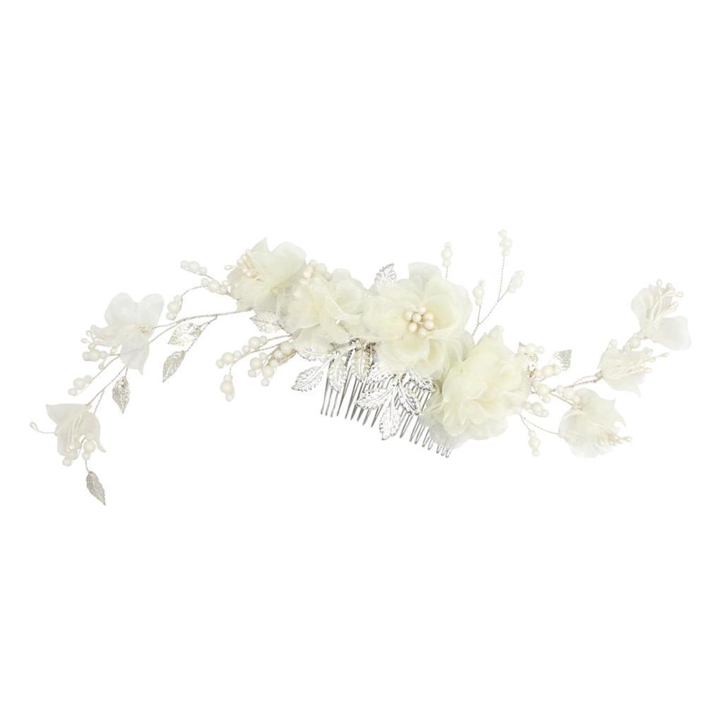 thumbnail 10 - Pearls Hair Comb Flower Wedding Headdress Bridal Hair Accessories Headpiece