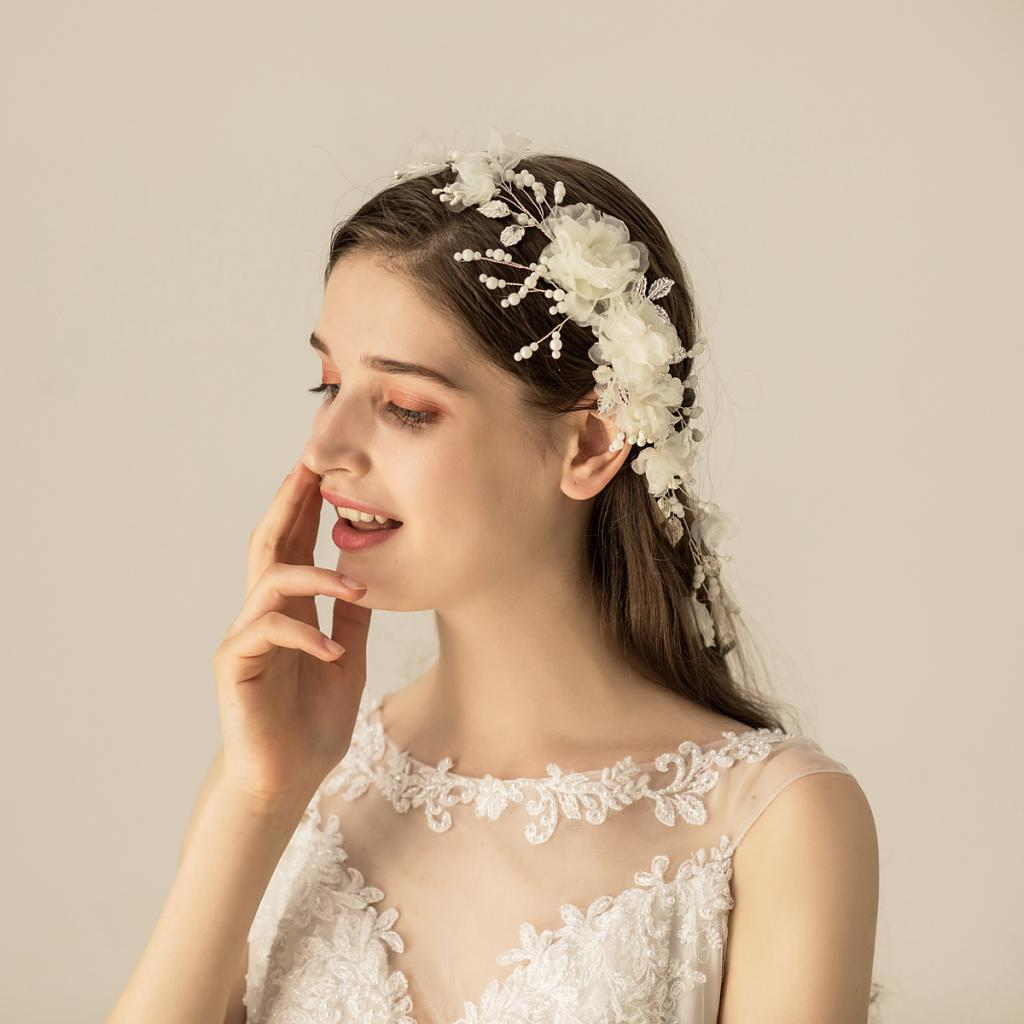 thumbnail 2 - Pearls Hair Comb Flower Wedding Headdress Bridal Hair Accessories Headpiece