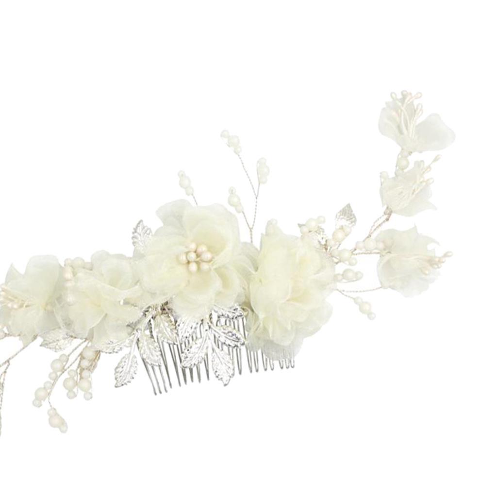 thumbnail 8 - Pearls Hair Comb Flower Wedding Headdress Bridal Hair Accessories Headpiece