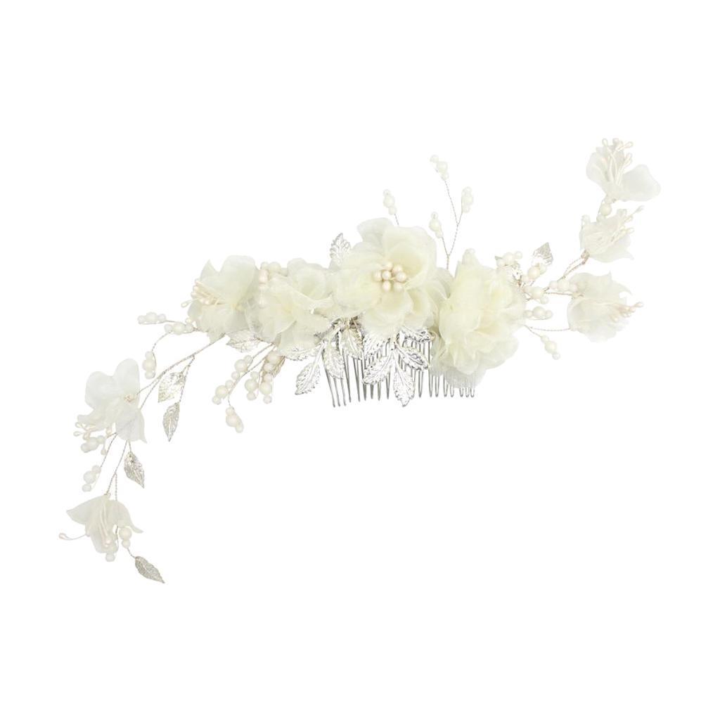thumbnail 9 - Pearls Hair Comb Flower Wedding Headdress Bridal Hair Accessories Headpiece