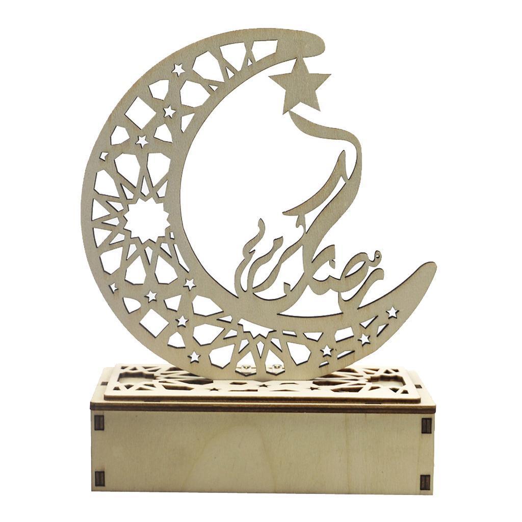 Decorations-En-Bois-Eid-Mubarak-Decorations-Fournitures-De-Fete-Musulmane miniature 9