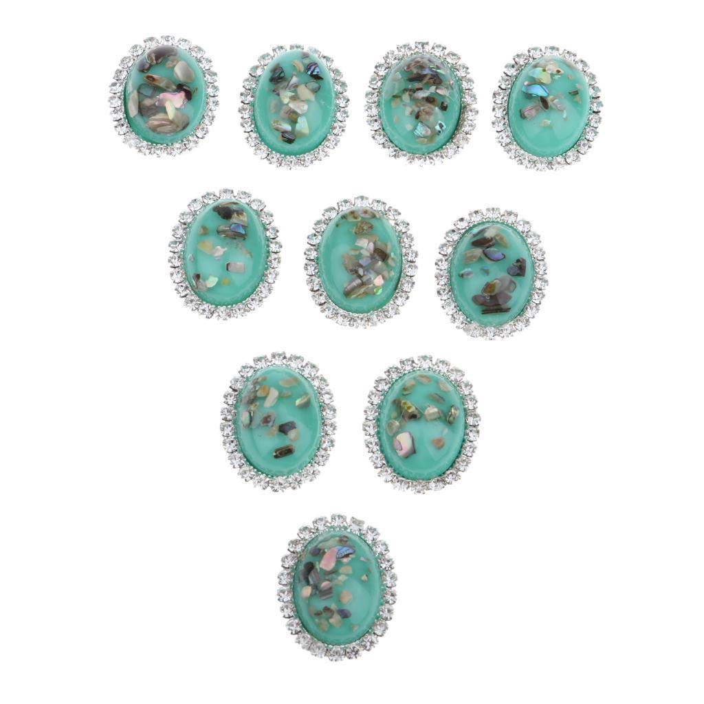 10-Stueck-Legierung-Strass-Flatback-Kristall-rhinestone-Knopf-Flatback-Knoepfe Indexbild 7
