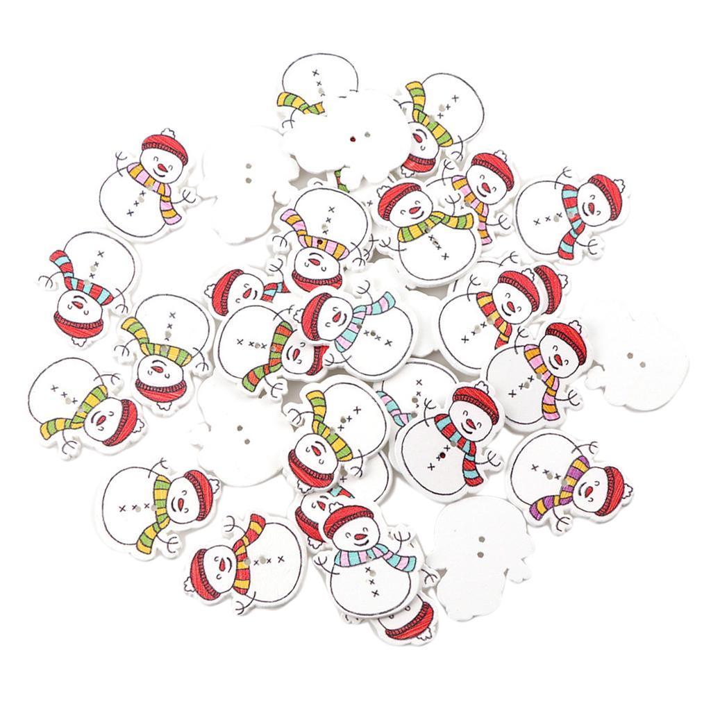 50x-Holzknoepfe-Naehen-Holzknopf-Weihnachten-Kinderknoepfe-Basteln-Dekoknoepfe Indexbild 6