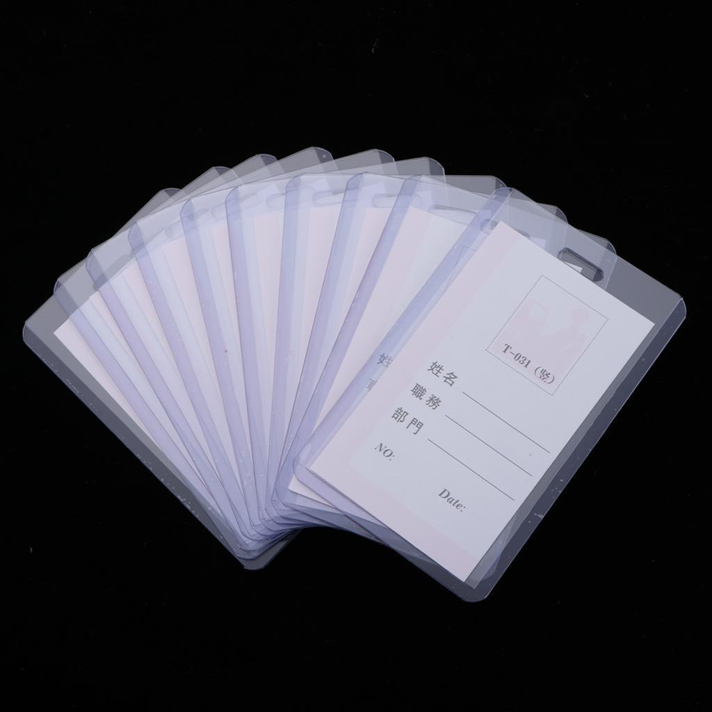 Paquet de 10 porte-cartes d'identité transparents verticaux, pochette double