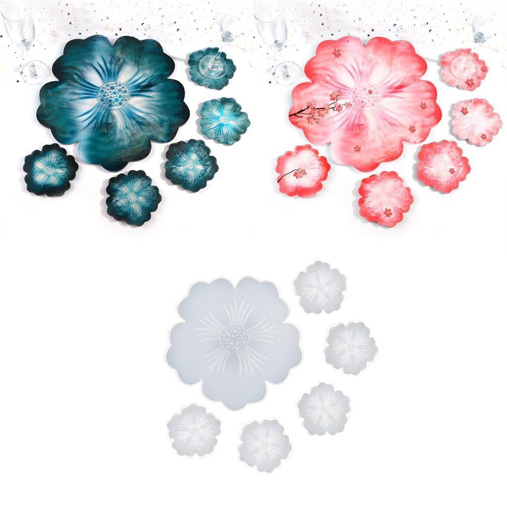 Indexbild 4 - Klar-Blumen-Coaster-Silikon-Form-DIY-Harz-Casting-Mould-fuer-Schmuck-Machen