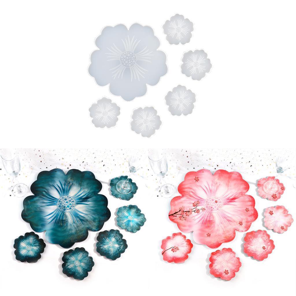 Indexbild 5 - Klar-Blumen-Coaster-Silikon-Form-DIY-Harz-Casting-Mould-fuer-Schmuck-Machen