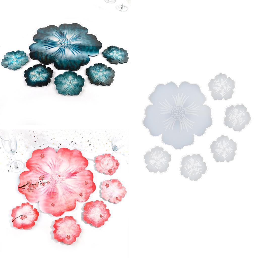 Indexbild 6 - Klar-Blumen-Coaster-Silikon-Form-DIY-Harz-Casting-Mould-fuer-Schmuck-Machen