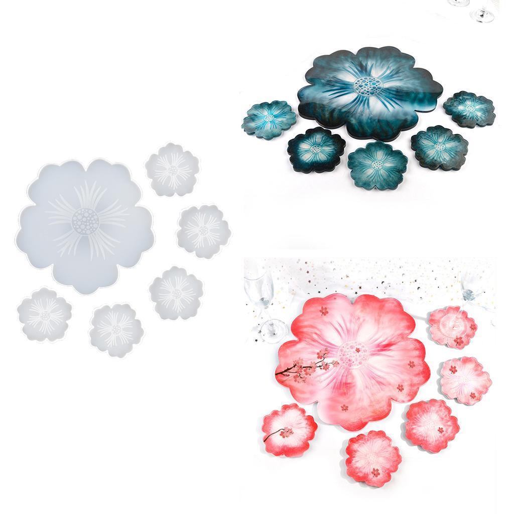 Indexbild 7 - Klar-Blumen-Coaster-Silikon-Form-DIY-Harz-Casting-Mould-fuer-Schmuck-Machen