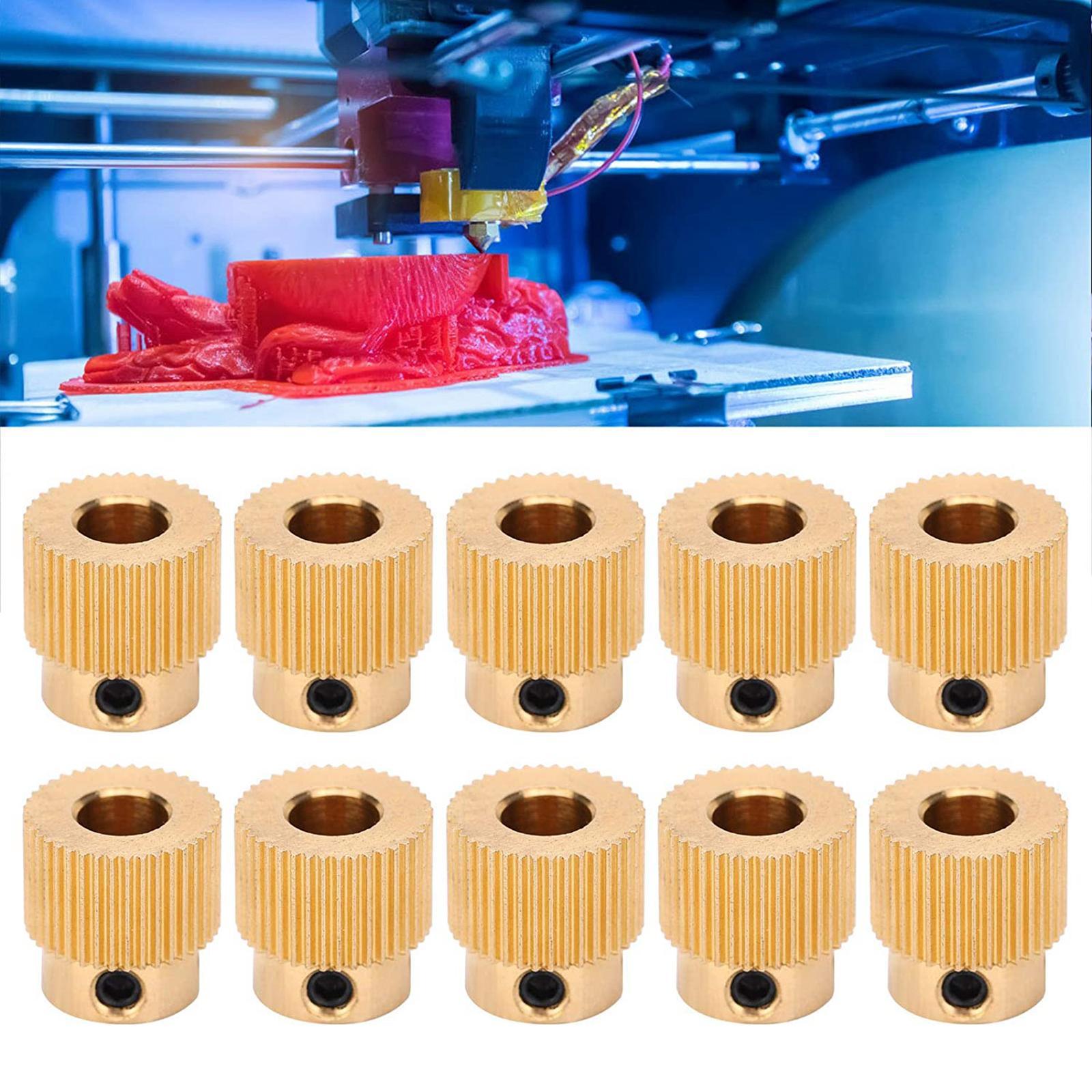 10PCS MK8 Extruder 3D Printer 40Teeth Brass Drive Gear 1.75mm & 3mm Filament