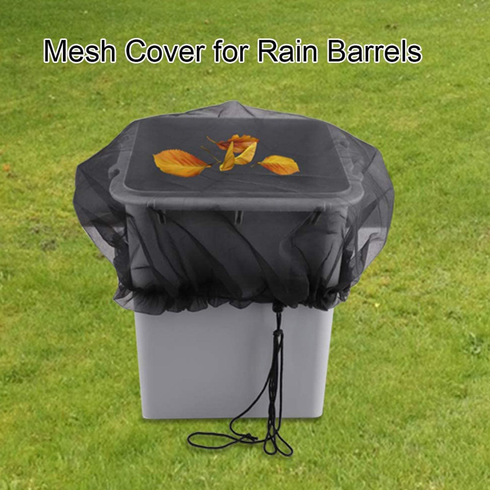 Mesh Cover Protector for Rain Barrels Accessories Easy Install w/Drawstring