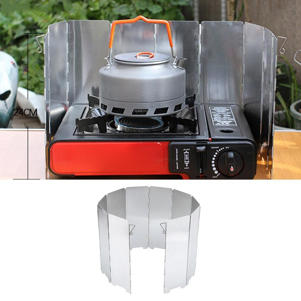10 Plates Folding Cooker BBQ Gas Stove Wind Shield Screen for Camping Foldable
