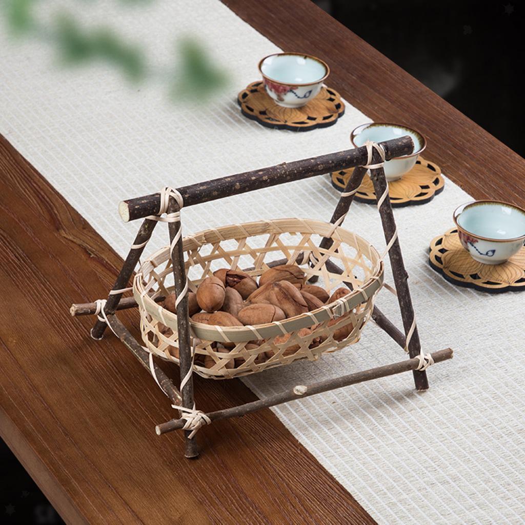 miniatura 17 - Vimini Pane di Frutta Dado Snack Buffet Cesto Di Bambù Tessuto Del Display
