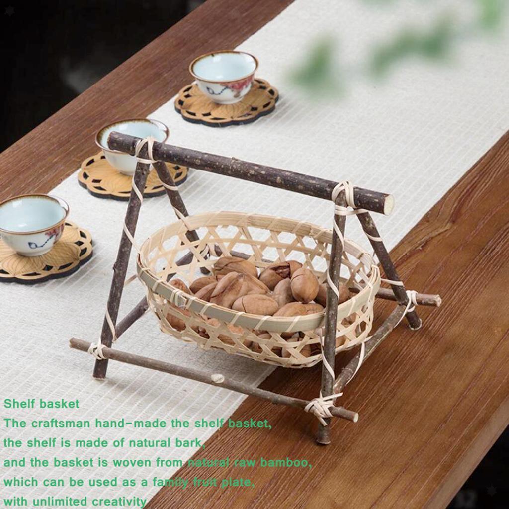 miniatura 16 - Vimini Pane di Frutta Dado Snack Buffet Cesto Di Bambù Tessuto Del Display