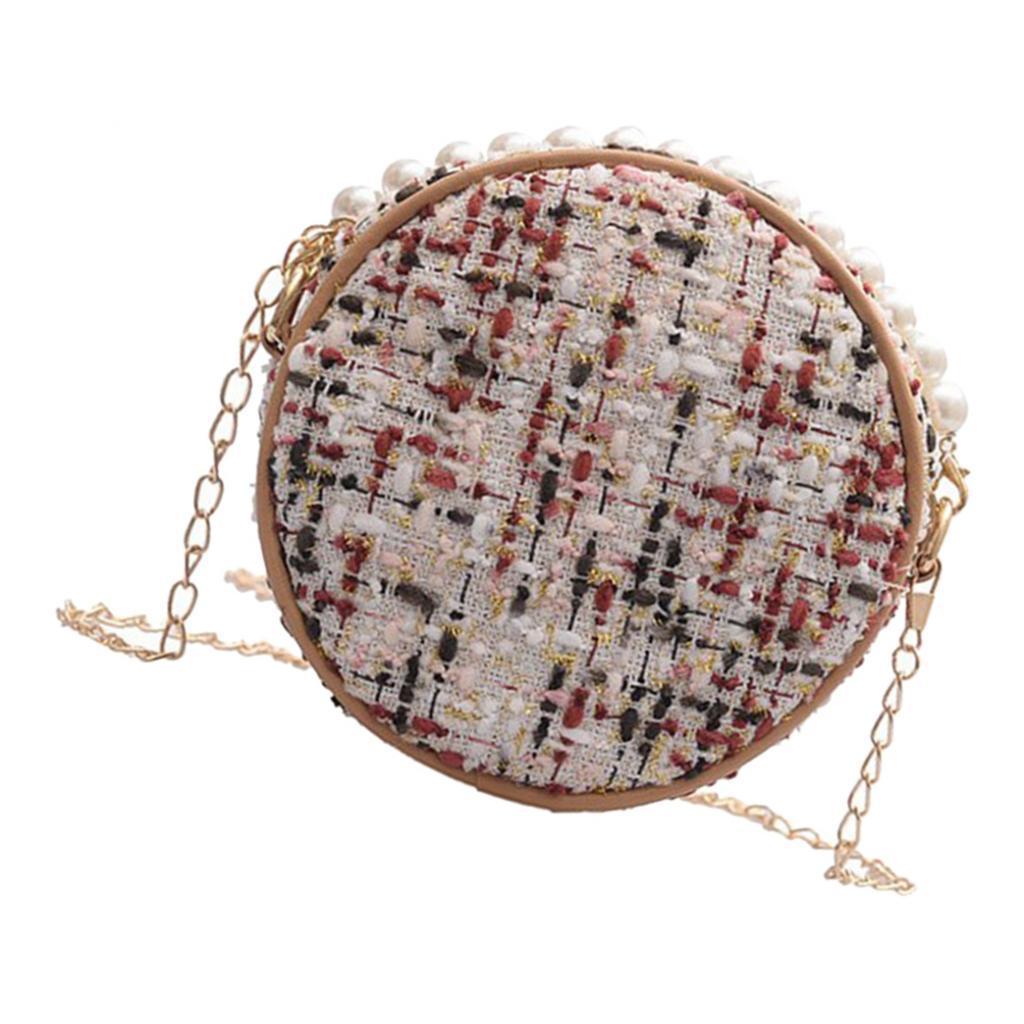 Damen-Runde-Umhaengetasche-kleine-Schultertasche-Handtasche-Crossbody-Herbst Indexbild 7